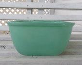 Jeanette Glass Square Green Refrigerator Dish - 1950s Fridgie Dish - Jadeite Green - No Lid
