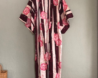 Vintage 60s Cotton PRETTY PINK Long Maxi Kimono Wrap Robe Jacket   Cherry  Blossom Floral Duster osfm cdb0d8853