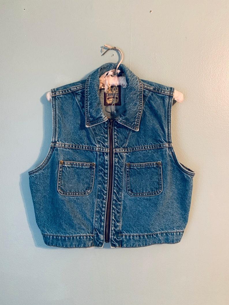 Vintage 90s Denim Zip Front Blue Jean Vest sz L  sz XL Light Wash Perfect Rocker Cool Girl Vibes Cropped Vest