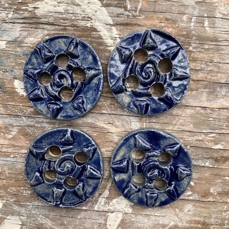 Clay buttons Pottery buttons Crochet Knitting 1.5 inch Unique Handmade stoneware Button Set blue set of 4 Sewing