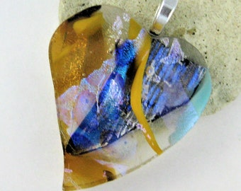 Dichroic Jewelry - Fused Glass Heart Pendant