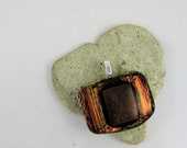 Fused Dichroic Glass Pendant Orange Red Dichroic