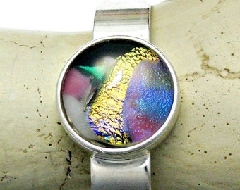 Gorgeous Dichroic Fused Glass Cuff Bracelet