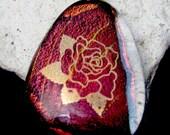 Fused Dichroic Glass -  Golden Rose Pendant