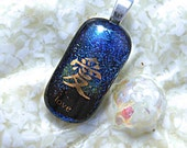 Fused  Glass Jewelry - Blue Dichroic Pendant - Love in Gold
