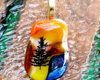 Dichroic Fall Fused Glass Pendant