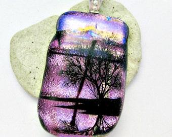 Fused Dichroic Glass Pendant - Sunset or Sunrise