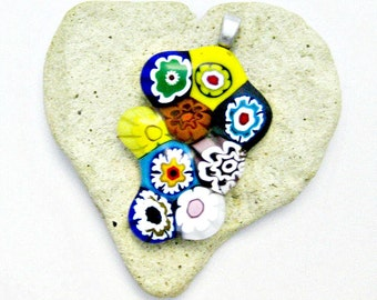 Fused Glass Pendant - Colorful Funky Flowers Pendant