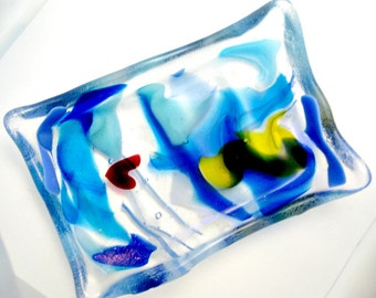 Colorful Blues Fused Glass - Soap Dish - Trinket Bowl