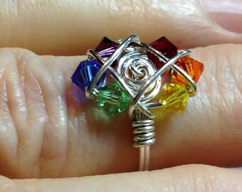 Rainbow Beaded Cluster Ring Argentium Siler Wire Wrapped Swarovski Crystal Any Color Size Made to Order Gay Pride Lgbt Birthstone Mothers