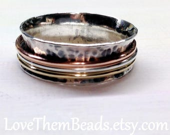 Silver Spinner Ring w 3 Mixed Metal Tri Color Skinny Bands Worry Fidget Meditation Spinning Turning Ring Silver Copper Gold Spinners