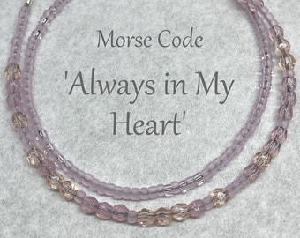 Always in My Heart Morse Code Seed Bead Wrap Bracelet, Shades of Pale Pink, Remember Loss of a Loved One Sympathy Jewelry Gift