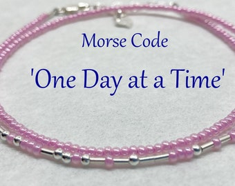 One Day At A Time Morse Code Wrap Bracelet, Silver and Pink Pearl Seed Bead Jewelry, Sobriety Anniversary Recovery Gift