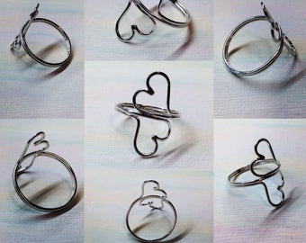 Argentium Silver Two Hearts Ring Double Twin Open Hearts Finger Ring or Adjustable Toe Ring Any Size Custom Made to Order by LoveThemBeads