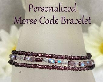 Personalized w Custom Message Morse Code Seed Bead Wrap Bracelet, Amethyst Purple Unique Jewelry Gift