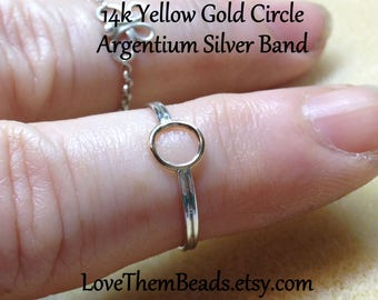 14K Gold Open Circle Ring Gold & Silver Two Tone Ring Simple Minimalist Everyday Pinky Finger Toe Ring Any Size Made to Order LoveThemBeads