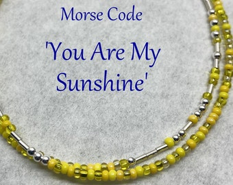 You Are My Sunshine Morse Code Wrap Bracelet, Silver and Yellow Seed Bead Jewelry, Gift for Mom or Daughter