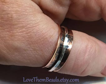 Copper & Sterling Silver Spinner Ring Patina Oxidized Worry Fidget Meditation Spinning Turning Thumb or Finger Copper for Arthritis Ring