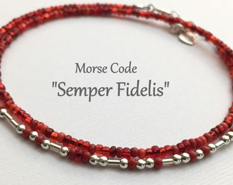 Semper Fidelis Morse Code Wrap Bracelet, Red Seed Bead & Silver Unique Jewelry Gift for USMC Marine Girlfriend, Wife, Mom or Daughter