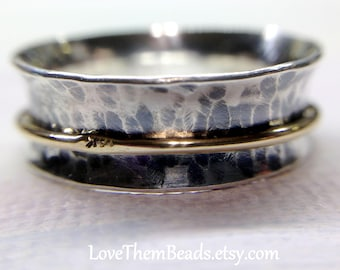 Two Tone Silver & Gold Spinner Ring Fidget Worry Spinning Turning Meditation Thumb Middle Finger Ring Sterling Silver 14k Gold LoveThemBeads