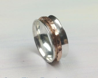 Sterling Silver & Copper Spinner Ring Worry Fidget Meditation Spinning Turning Thumb Index or Middle Finger Ring by LoveThemBeads