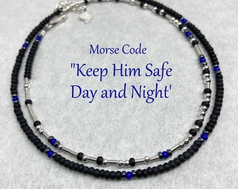 Keep Him Safe Day & Night, Blue Lives Matter Gifts for Police Officer, Cop, Wife, Girlfriend, Morse Code Seed Bead Wrap Bracelet