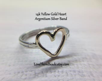 Two Tone Gold Heart Ring Finger or Adjustable Toe Ring 14K Gold Open Heart Ring w Silver Band Any Size Custom Made to Order by LoveThemBeads