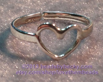 Silver Open Heart Ring Finger Toe Ring Love Jewelry Everyday Simple Ring Any Size Custom Made to Order for Her by LoveThemBeads