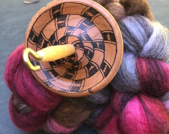 Tangled Hand turned Cherry drop spindle whorl