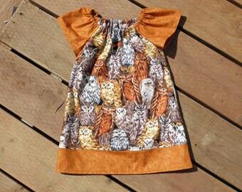 Owls Baby Peasant Dress, Cotton Dress, Size 12 Months