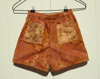 Golden Brown Monochrome and Faux Hand Dyed Baby Shorts, Baby Boy Shorts, Golds and Browns Cotton Pullup Shorts, 12 Month Pull Up Shorts