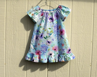 Hummingbirds and Flowers on Light Blue Background Peasant Dress, Hummingbird Dress Sizes 12 Months - 4 Toddler, Cotton Baby Dress