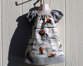 Arizona Desert Animals Shades of Gray on Off White, Cotton Peasant Dress Size 3, Toddler Dress with Coyote, Rabbit, Horses and More.