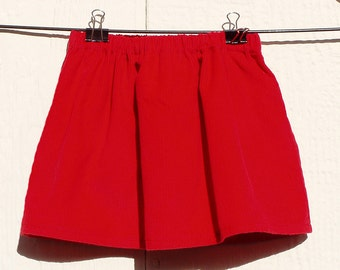 Red Corduroy Elastic Waist Skirt Size Newborn, 3 Months, 6 Months, 12 Months, 18 Months