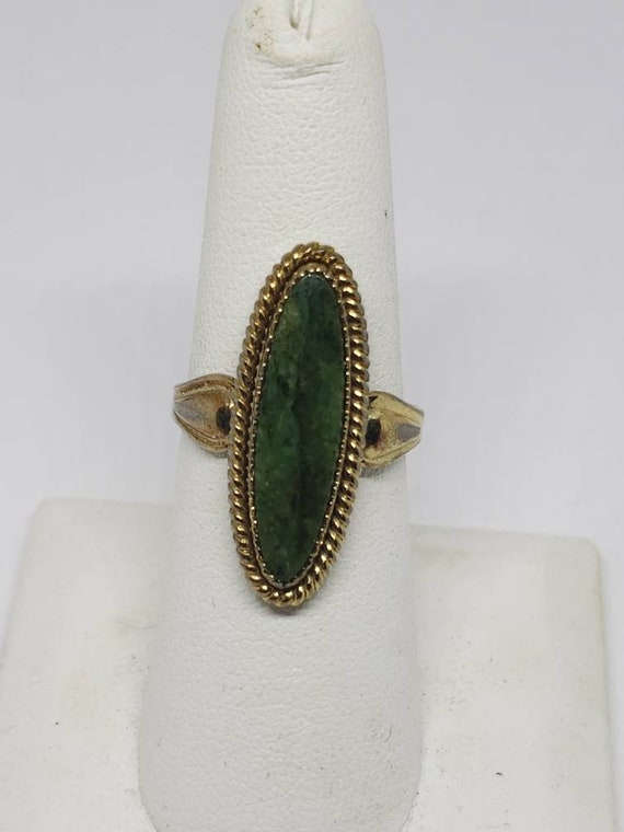 Vintage Navajo JP Jane Popovitch Nephrite Jade Gold Plated Sterling Silver  Oval Ring SIGNED Old Pawn Native American Jewelry