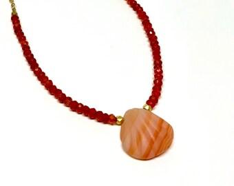 14k GF Carnelian shell necklace