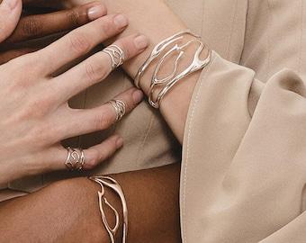 Coral Cuff Bracelet in Polished Bronze -3B