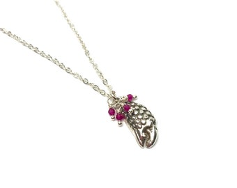 Ruby Crab Claw necklace -Fine silver