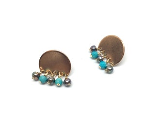 Abstract earrings-Turquoise and Pearl Droplet earrings