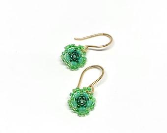 Small beaded aqua miyuki flowers on 14k GF ear wires