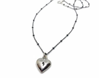 Love rocks solid sterling silver heart charm with lightening bolt engraving