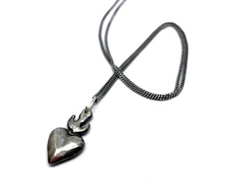 Antiqued sterling silver or bronze Heart on Fire pendant charm on long sterling silver chain.