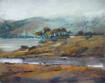California Fog Landscape Original Pastel Painting Karen Margulis 8x10