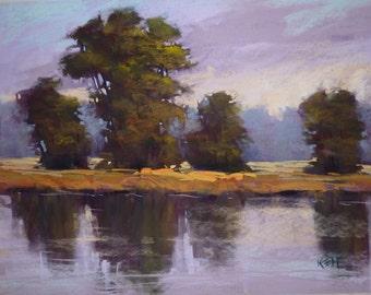 Large Landscape Marsh Wetlands 18x24 Original Pastel Painting Violet, Purple