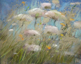 Intimate Wildflowers With Metallic Gold Original Pastel Painting Karen Margulis