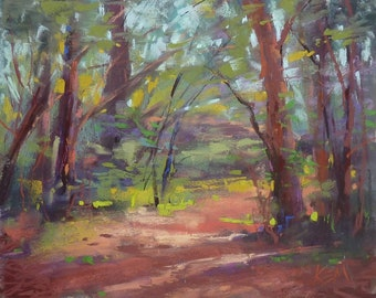 FOREST Interior Trees Summer  Landscape Original Pastel Painting Karen Margulis 8x10