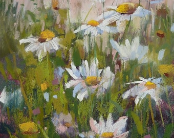 Summer Landscape Daisies  Original Pastel Painting Karen Margulis