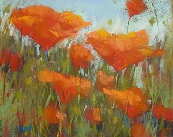 Original Pastel Painting California Poppies  floral 8x10 by Karen Margulis psa