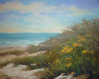 Beach Dune SEASCAPE Large Original Pastel  Karen Margulis Florida Art