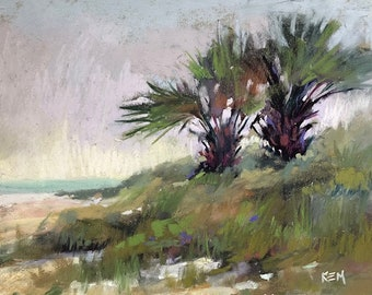 Seascape with Dunes Stormy skyPalm trees Original Pastel Painting 8x10